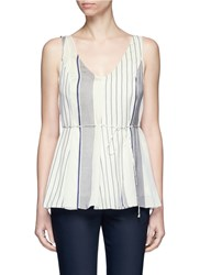 The Row 'Insa' Stripe Tie Waist Satin Sleeveless Top Multi Colour