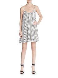 Saks Fifth Avenue Red Striped A Line Dress White Black