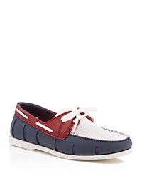 Swims Boat Loafers Navy Red