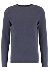 Tom Tailor Denim Minijaquard Crewneck Sweatshirt Black Iris Blue Dark Blue