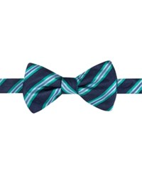 Countess Mara Men's Eugene Reversible Stripe Dot Pre Tied Bow Tie Navy Aqua