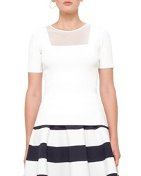 Akris Punto Knit Short Sleeve Sheer Panel Top Cream