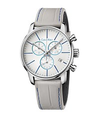 Calvin Klein City Stainless Steel And Grey Leather Strap Chronograph
