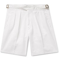 Rubinacci Manny Pleated Cotton Twill Bermuda Shorts White
