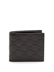 Gucci Logo Debossed Bi Fold Leather Wallet Black