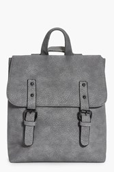 Boohoo Keira Buckle Detail Structured Backpack Grey