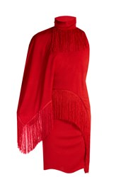 Givenchy Fringed High Neck Compact Jersey Dress Red