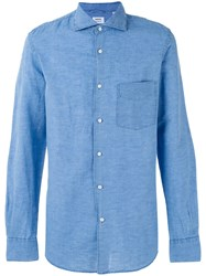 Aspesi Plain Shirt Men Cotton Linen Flax 40 Blue