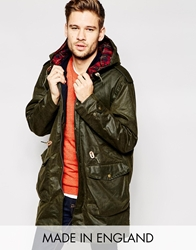 Jack Wills Montague Waxed Parka Made In Uk Green