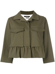 Odeeh Boxy Cropped Sleeve Jacket Green