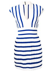 Balmain Pleated Knit Dress Blue