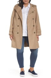London Fog Plus Size Women's Hooded Double Breasted Trench Coat Br Khaki