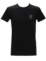 Versace Printed Stretch Cotton Undershirt Black