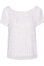 Milly Crystal Embellished Silk Georgette Top White