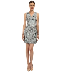Vera Wang Printed Stretch Viscose V Neck Sleeveless Dress W Tulip Skirt