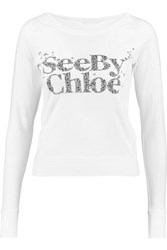 See By Chloe Printed Cotton T Shirt White