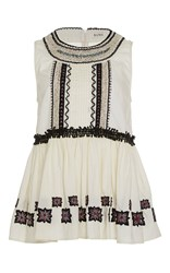 Suno Embroidered Peplum Top White