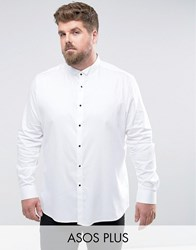 Asos Plus Slim Sateen Shirt With Wing Collar And Contrast Buttons White