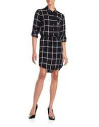 Lord And Taylor Clever Plaid Shirtdress Black