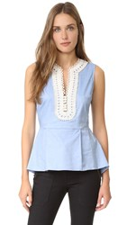 Veronica Beard Casita Peplum Shirt Light Blue