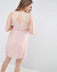 Vila Pleated Dress With Cut Out Back Pale Mauve Pink