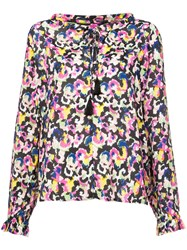 Saloni Hot House Mirage Printed Blouse Pink And Purple