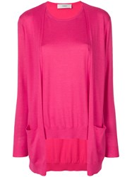 Pringle Of Scotland Twinset Top Pink And Purple