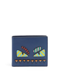 Fendi Bag Bugs Bi Fold Leather Wallet Blue Multi