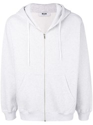 Msgm Embroidered Logo Zipped Hoodie Grey