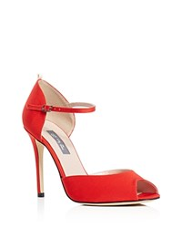 Sarah Jessica Parker Sjp By Ursula Grosgrain Mary Jane Peep Toe Pumps Poppy Red
