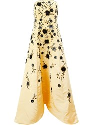 Oscar De La Renta Sequinned Flowers Strapless Gown Yellow Orange