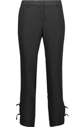 Just Cavalli Cropped Crepe De Chine Straight Leg Pants Black