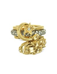 Roberto Cavalli Circus Golden Metal Ring W Crystals