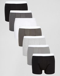 Asos Trunks In Monochrome 7 Pack Save 31 Multi