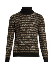 Saint Laurent Leopard Intarsia Mohair Blend Sweater Brown Multi