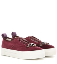 Mytheresa.Com Exclusive Mother Carolina Herrera Embellished Velvet Sneakers Red