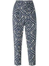 Steffen Schraut Printed Cropped Trousers Blue