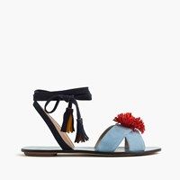 J.Crew Lace Up Suede Sandals With Pom Pom