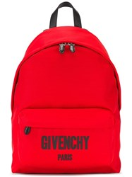 Givenchy Logo Print Backpack Red