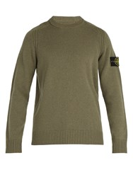 Stone Island Crew Neck Wool Blend Sweater Khaki