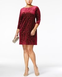 Jessica Howard Plus Size Burnout Velvet Shift Dress Wine
