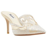 Dune Delights Stiletto Heeled Mule Court Shoes Champagne
