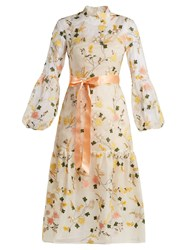 Erdem Sandra Floral Embroidered Organza Gown White Multi