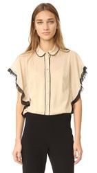 Red Valentino Ruffle Sleeve Blouse Soy Black