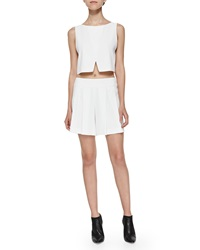 Alice Olivia Sleeveless Cross Front Crop Top White