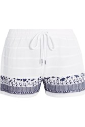 Michael Michael Kors Embellished Embroidered Cotton Shorts White