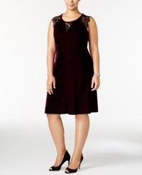 Ny Collection Plus Size Lace Trim Velvet Fit And Flare Dress Plum Luxury
