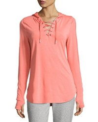 Nanette Lepore Play Hooded Monili Beaded Pullover Sweater Coral
