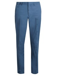 Stella Mccartney Straight Leg Cotton Gabardine Chino Trousers Blue