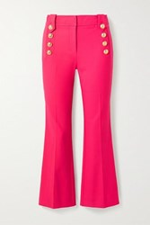 Derek Lam 10 Crosby By Robertson Cropped Button Embellished Cotton Blend Flared Pants Magenta